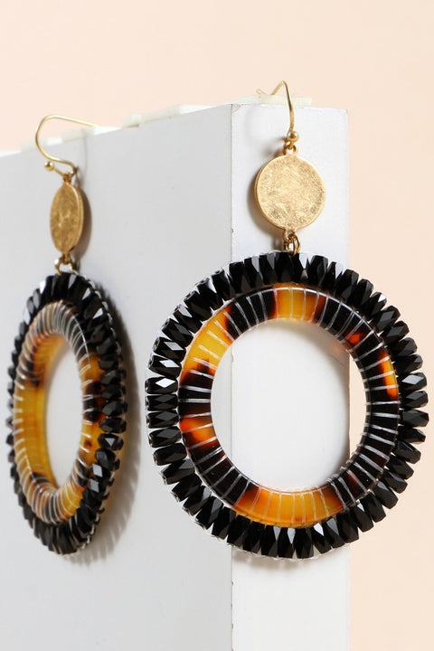 Round Tortoise Acetate Glass Beads Earrings