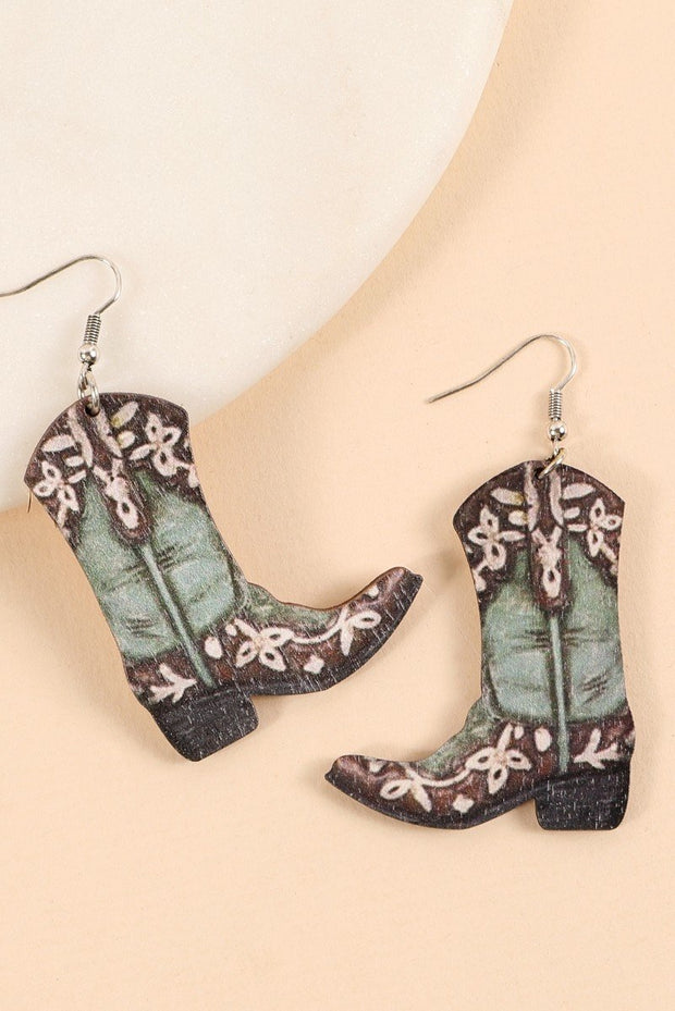 Western Cowboy Boots Wood Dangling Earrings