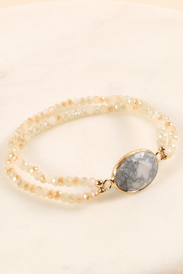 Natural Stone Glass Beads Layered Bracelet