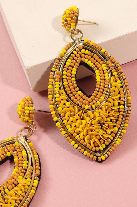 Seed Beads Sequins Pear Shape Earrings