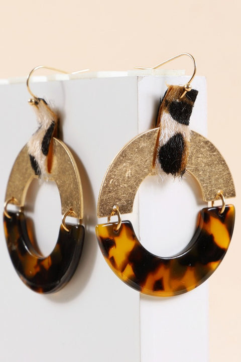 Animal Print Calf Hair Acetate Round Earrings