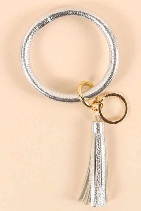 Solid PU Leather Tassel Key Ring