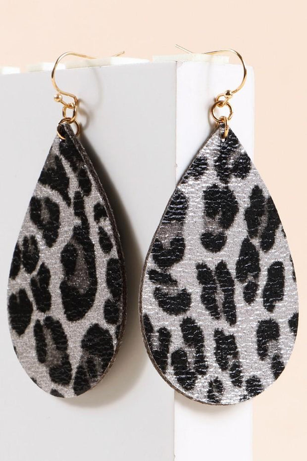 Leopard Print Metallic PU Leather Earring