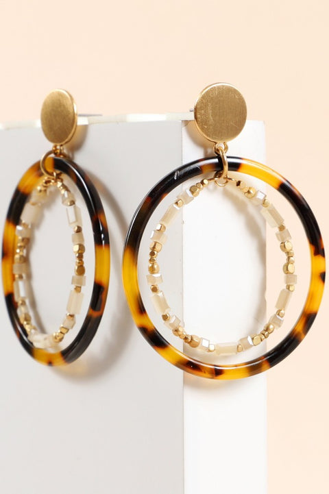 Round Layered Acetate Glass Beads Earrings