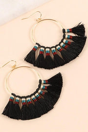 Tassels Metal Round Dangling Earrings