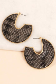 Snake Skin Leather Round Open Hoop Earrings