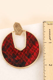 Snake Skin Leather Round Drop Earrings