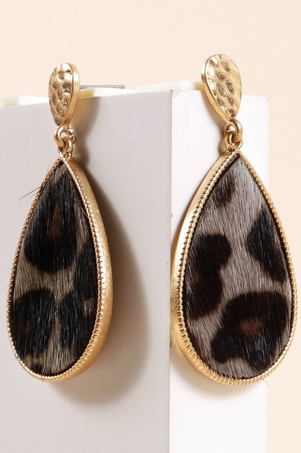 Animal Calf Hair Tear Drop Dangling Earrings