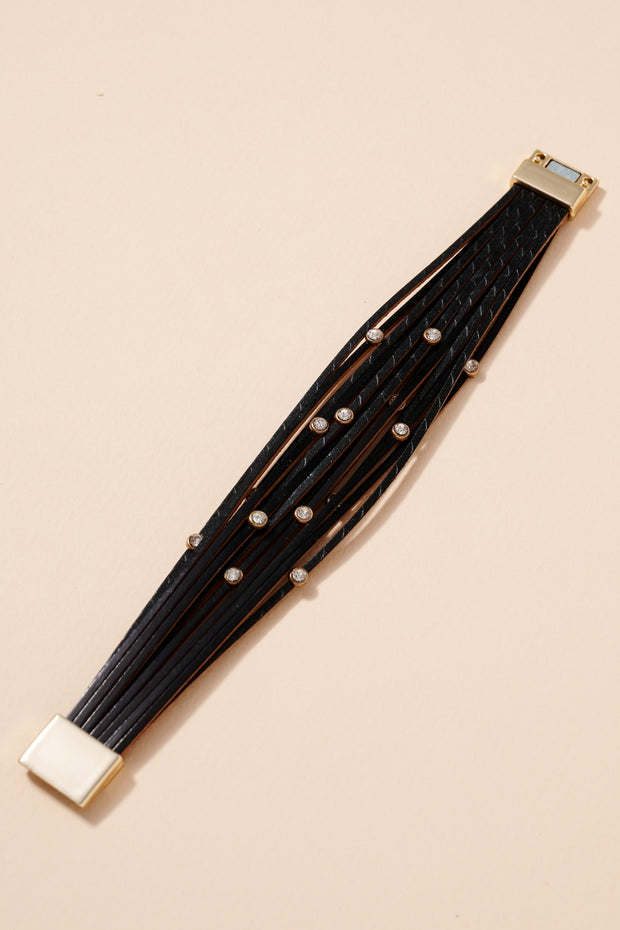 Rhinestones Multi Strand Leather Bracelet