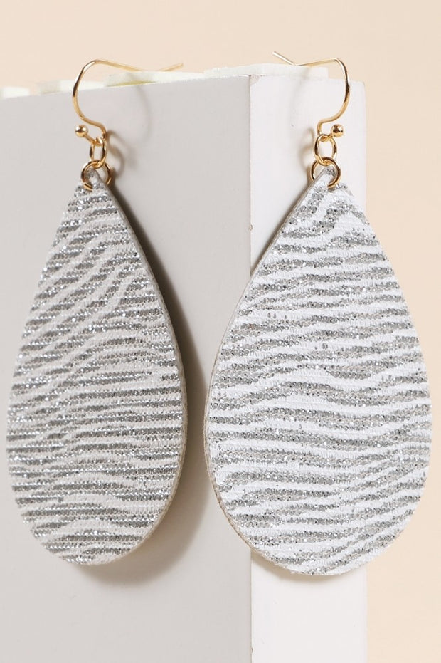Tear Drop Stripped Glitter Dangling Earrings