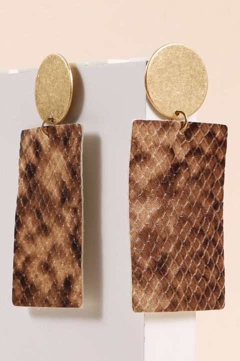 Snake Skin Leather Rectangular Drop Earrings