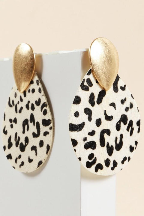 Animal Print Calf Hair Tear Drop Earrings