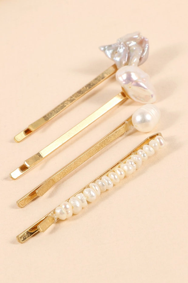 Pearls Metal Pins Set Of Four