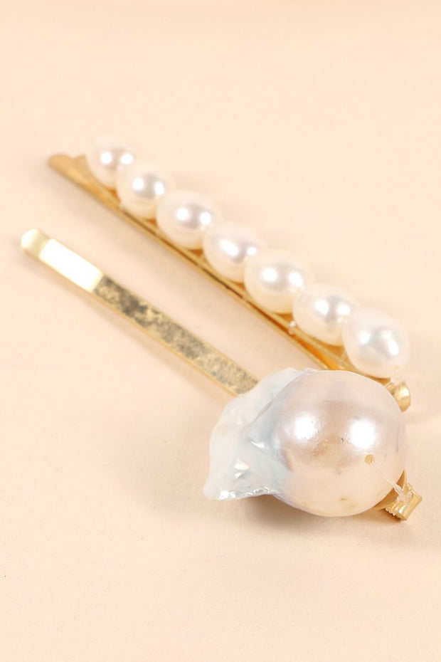 Pearls Metal Pins Set Of Two