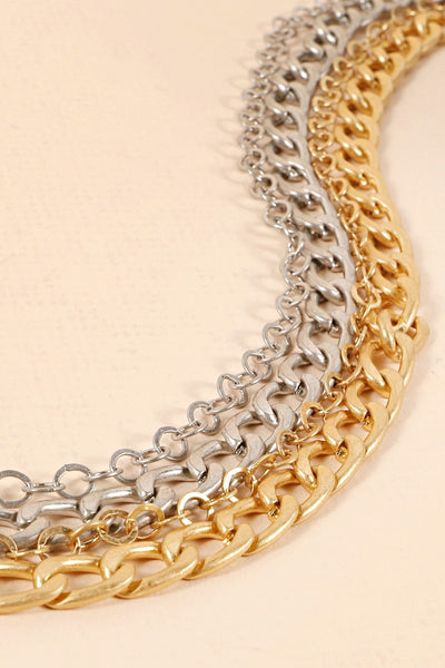 Layered Chain Linked Short Necklace