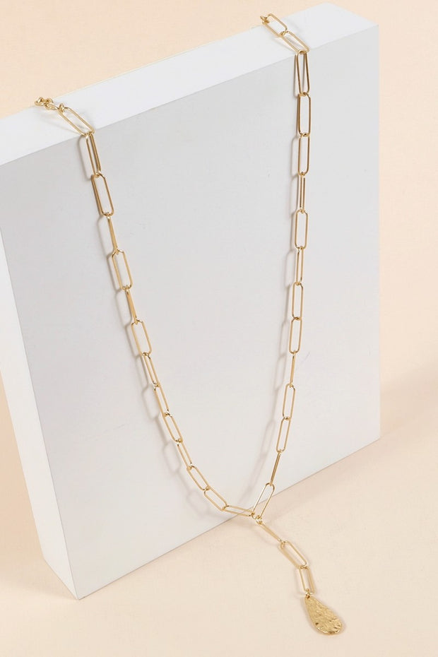 Hammered Metal Pendant Chain Linked Necklace