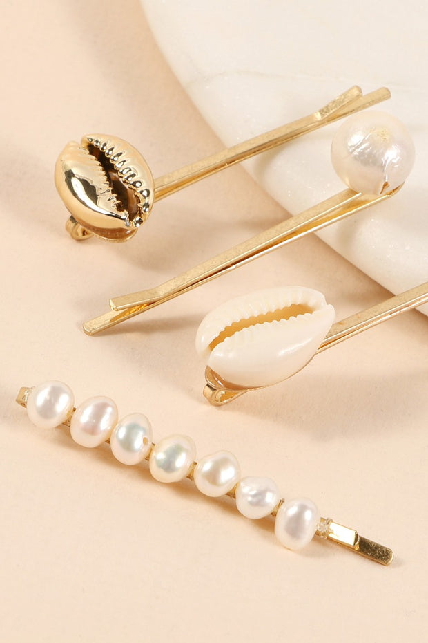Pearls Cowrie Shells Metal Pins Set Of Four