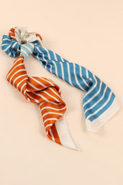 Stripe Print Dual Scarf And Scrunchy
