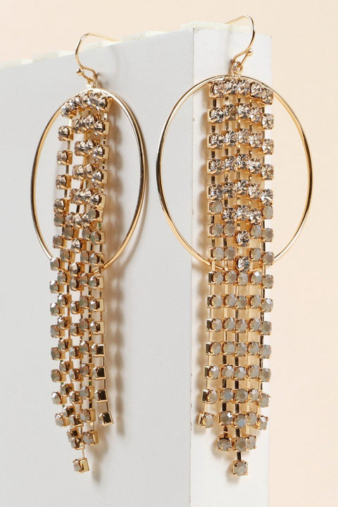 Rhinestones Tassels Metal Round Earrings