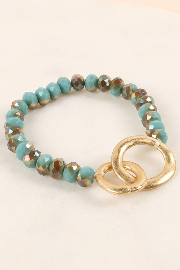 Round Metal Charm Glass Beaded Bracelet