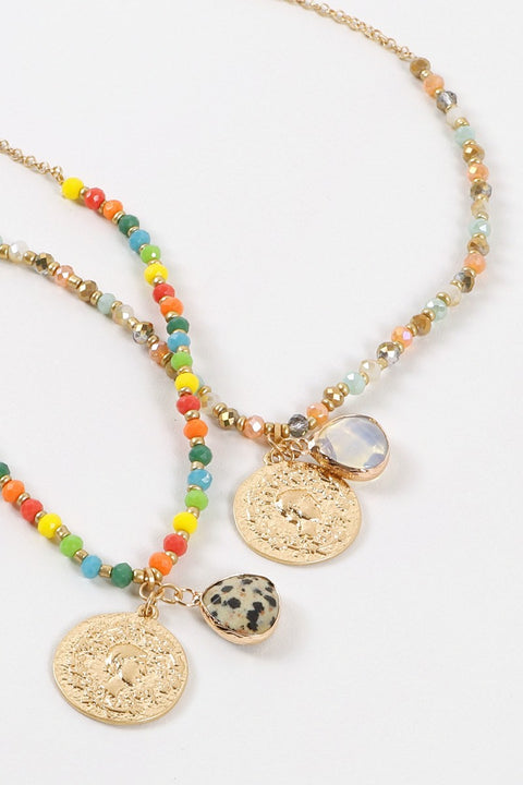 Stones Coin Charms Beaded Short Necklace