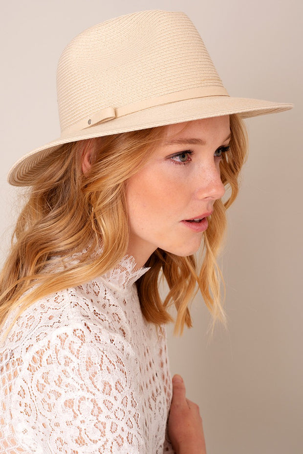Looped Suede Band Panama Hat