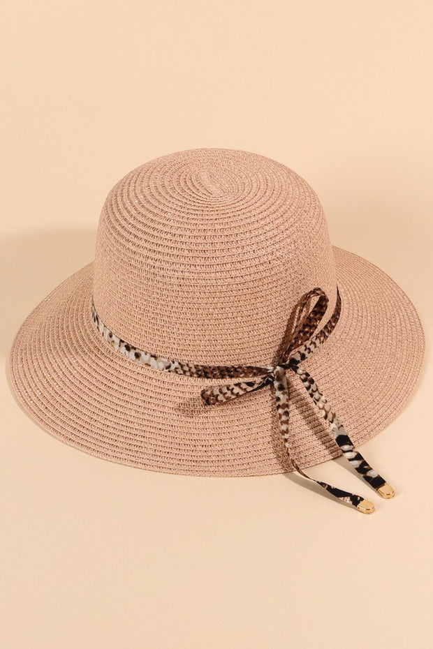 Snake Print String Summer Cloche Hat
