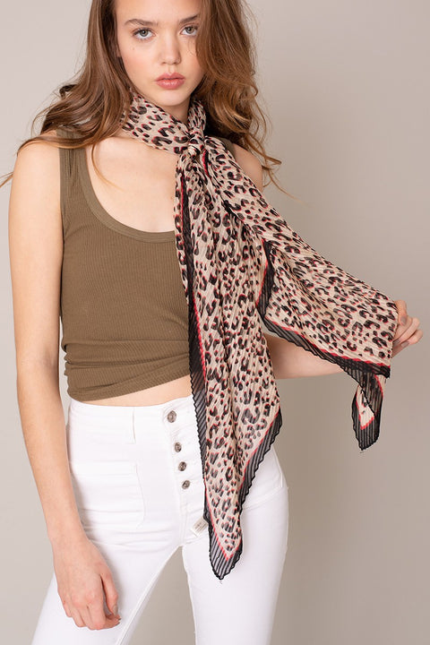 Leopard Print Pleated Scarf