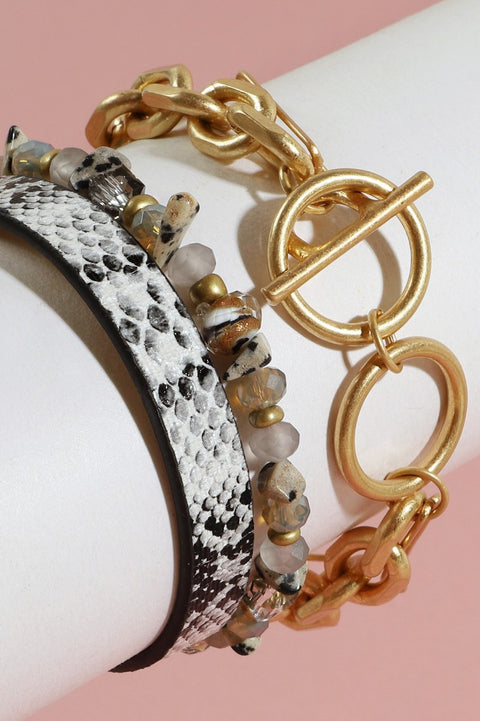 Snake Print PU Leather Chain Linked Bracelet Set