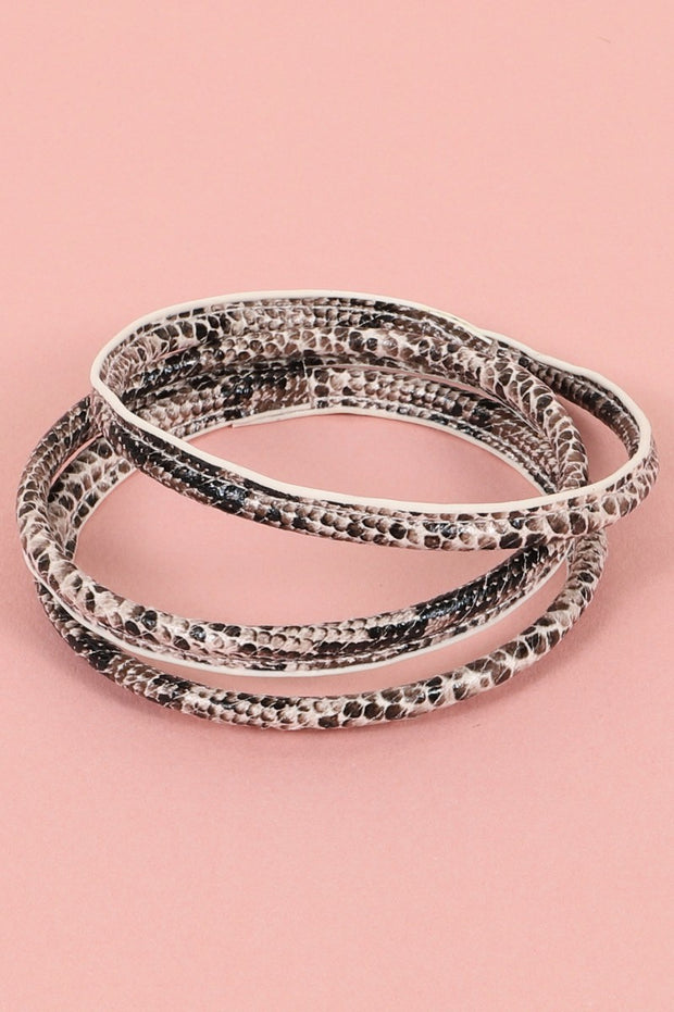 Snake Skin Print PU Leather Bracelet Set
