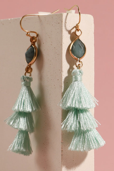 Natural Stone Triple Tassel Dangling Earrings