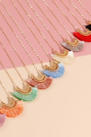 Semi Circle Metal Tassels Short Necklace