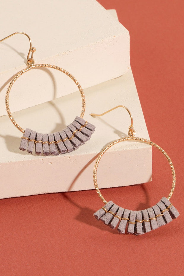Metal Hoops with Suede Tassel