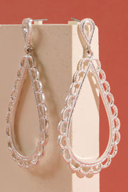 Lace Metal Tear Drop Dangling Earrings