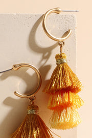 Triple Tassel Metal Hook Earrings