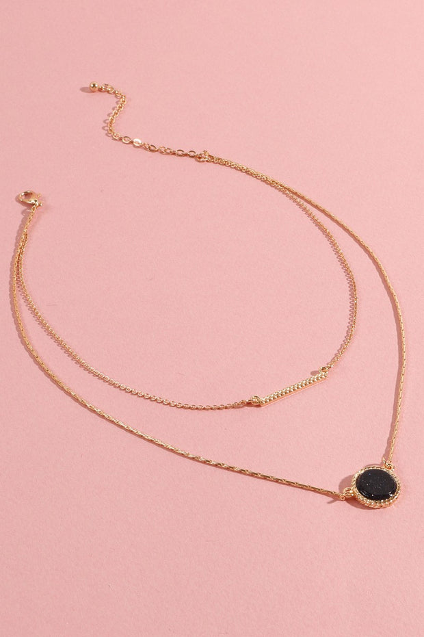 Mini Circle Stone Metal Bar Layered Necklace