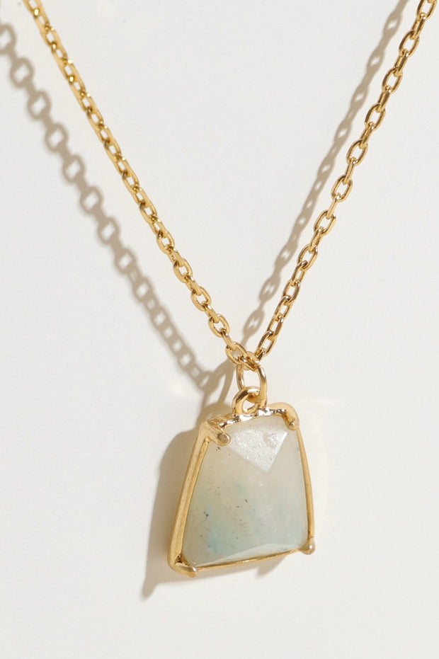 Natural Stone Pendant Layered Necklace