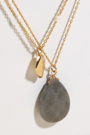 Natural Stone Metal Charm Layered Necklace
