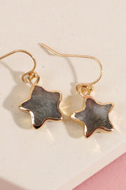 Star Shape Natural Stone Dangling Earrings