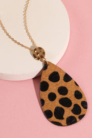 Animal Print Calf Hair Pendant Necklace