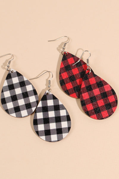 Plaid Tear Drop Wooden Earrings