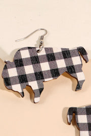 Plaid Buffalo Wooden Earrings