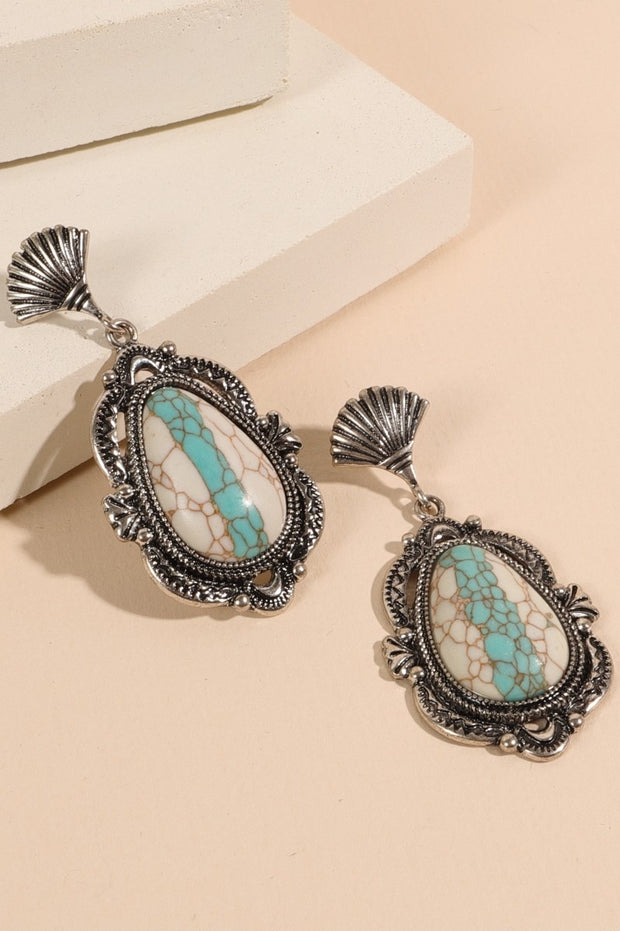 Western Tear Drop Natural Stones Earrings