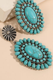 Western Oval Natural Stones Earrings