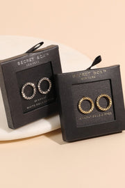 Secret Box Gold Dipped Circle Stud Earrings