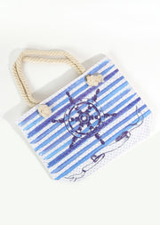 Sheep Wheel Print Beach Tote Bag