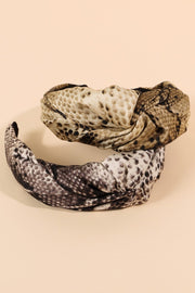Snake Skin Print Knotted Head Band