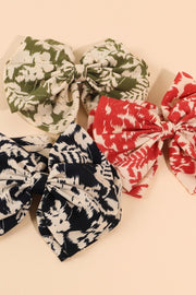 Leaf Print Bow Barrette