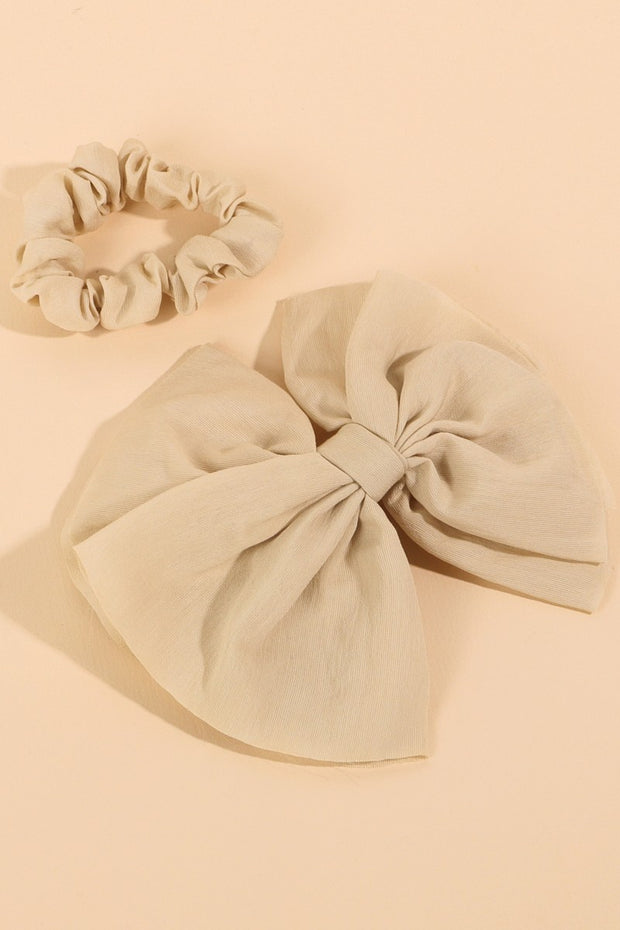 Solid Bow Barrette & Scrunchie Set