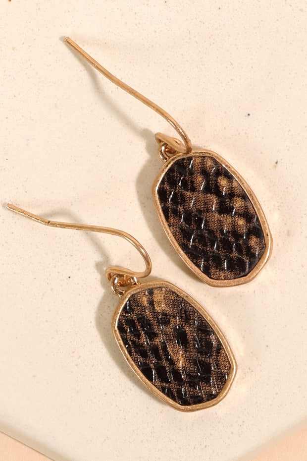 Animal Print Calf Hair PU Leather Earrings